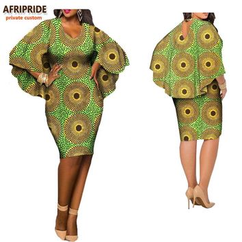 2017 African clothes casual dress for women AFRIPRIDE O-neck and V-back cloak sleeves knee-length summer women dress A7225108