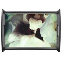 Cool bloomed White flower texture Serving Tray