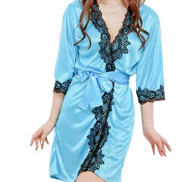 Sexy Temptation Women Sleepwear Comfortable Lace Bathrobe Pure Role-playing Women's Bathrobe Vestidos Free Shipping