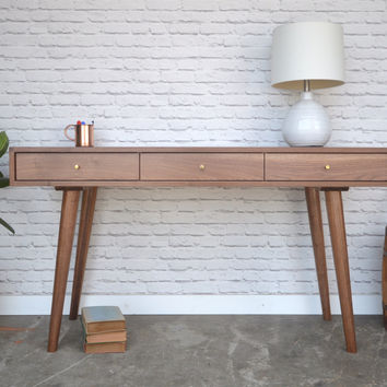 Bloom Desk / Console Table in Solid Walnut - Danish Modern Style