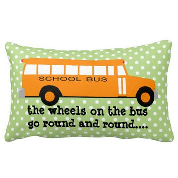 Yellow School bus on Pale Green w Polka Dots Pillows