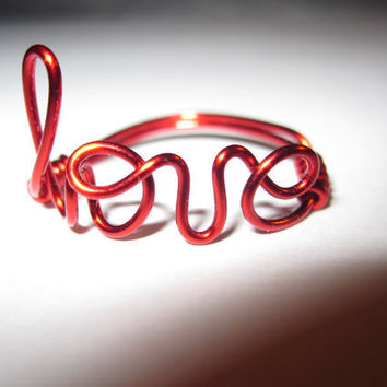Red Love Ring Wire Wrapped
