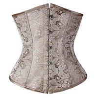 Floral Pattern Underbust Vintage Waist Trainer Corset Top GOTH Bustiers Boned Lace Up PLUS SIZE S-2XL Read Our Size Chart