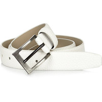 River Island MensWhite pebbled square buckle belt