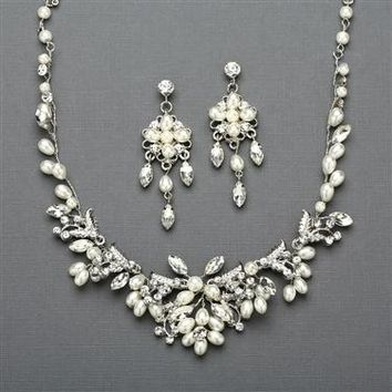 Silver Vine Bridal Necklace and Earrings Set with Freshwater Pearls 4429SC-S