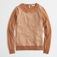 Factory warmspun herringbone Peter Pan collar sweater
