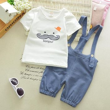 Bonjour T-Shirt & Striped Overall Set
