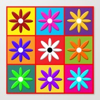 Pop Daisy Canvas Print by Miss L In Art