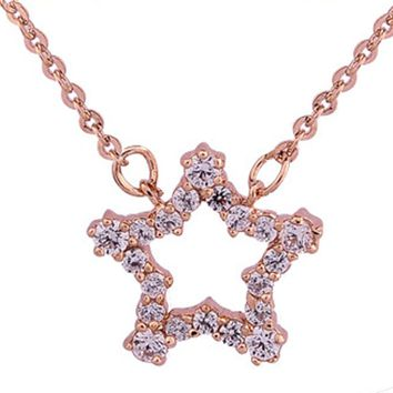 Real Rose Gold Rhinestone Crystal Star Necklaces &amp Pendants Fashion Jewelry Women