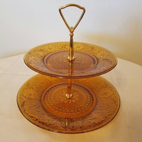 Vintage Indiana Glass Daisy Sandwich Pattern 2 Tiered Amber Glass Serving Tray