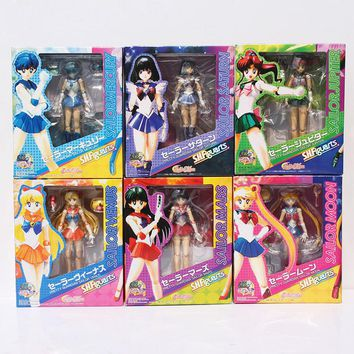 6Pcs/Lot Sailor Moon Figures Sailor Mars Mercury Jupiter Saturn Figure PVC Action Toy Collection Model Dolls 15CM