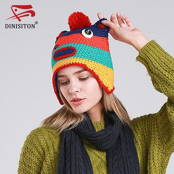 DINISITON Fashion Ombre Strip Cap Women Winter warm Hat Blended Knitted Female Hats Ladies Beanies Outdoor Leisure MT15