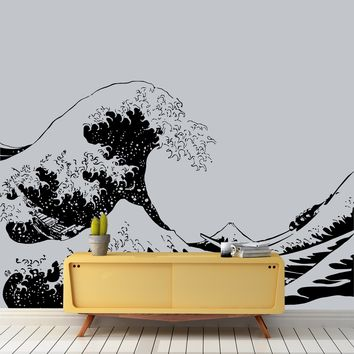 910fd44d0b8f18 Japanese The Great Wave Off Kanagawa by Hokusai Wall Decal  363