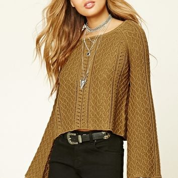 Bell-Sleeve Fisherman Sweater