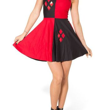 Lady Queen Women's Harley Quinn Scoop Skater Dress Clubwear Ball Party Skirt Size M Black Red