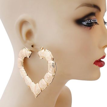 Large Gold Heart Bamboo Hoop Earrings