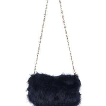 Faux Fur Handwarmer And Clutch Bag