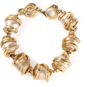 Yves Saint Laurent Vintage faux pearl and chain bracelet