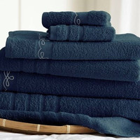 6 Piece Embroidered Egyptian Cotton Towel Set – Vintage Ribbon – (Denim)