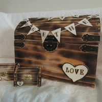 Rustic Wood Burned Wedding Card and Ring Chest His Hers Ring Boxes Wedding Set Hearts