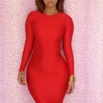 Long Sleeve Midi Bodycon Dress