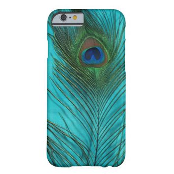 Two Aqua Peacock Feathers Barely There iPhone 6 Case