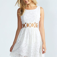 Alana Cross Waist Lace Skater Dress