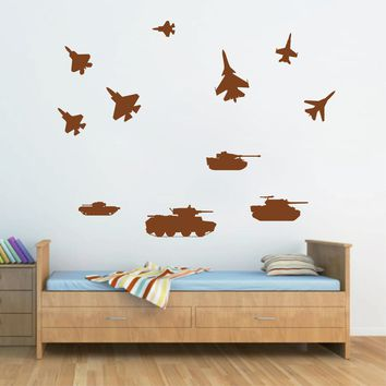ik701 Wall Decal Sticker military transport airplane armored tank US Army kids
