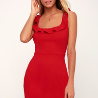 Dream Girl Red Ruffled Bodycon Dress