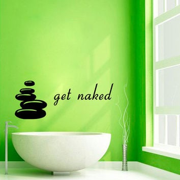 Wall Decals Words Get Naked Spa Stones Spa Salon Bathroom Decor Vinyl Sticker Decal Home Decor Wall Art Murals Interior Design KG617