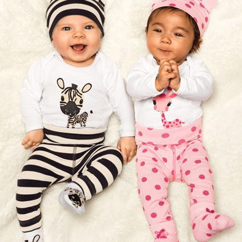 Cotton children baby boys girls clothes 3 pcs(Long-sleeved Romper+hat+pants)children clothing set