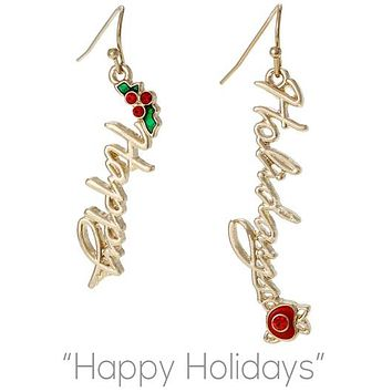 Happy Holiday Script Earrings