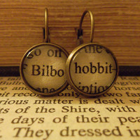 Bilbo The Hobbit Earrings  Recycled by PermanentInkJewelry on Etsy