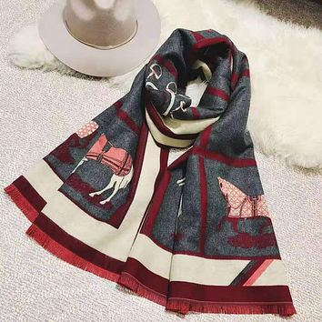 Hermes Autumn Winter Fashion Warm Cape Scarf Scarves Accessories Dark Grey
