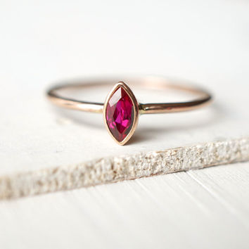 Ruby Ring, Rose Gold Ring, Engagement Ring, Wedding Band, Marquise Ring, Natural Ruby Ring, Custom Jewelry, Solitaire Ring, Stacking Ring