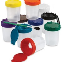 Sargent Art 22-1610 No-Spill Paint Cups with Color-Coded Lids, Set of 10