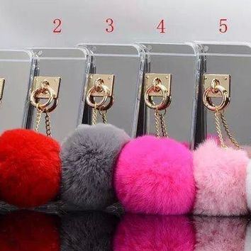 New Luxury Metal Rope Mirror TPU Tassel Phone case Rabbit Bunny Fur Ball Cover For iPhone SE 5 5G 5S 6 6S 7 8 X / Plus
