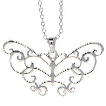 Dear Deer White Gold Plated Filigree Butterfly Pendant Necklace