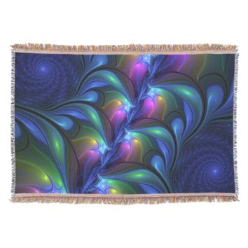 Colorful Luminous Abstract Blue Pink Green Fractal Throw