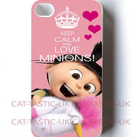 KEEP CALM & LOVE MINIONS iPhone 4,4s, 5 5C 5S CASE COVER MINION AGNES despicable