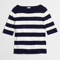 Striped elbow-sleeve boatneck sweater