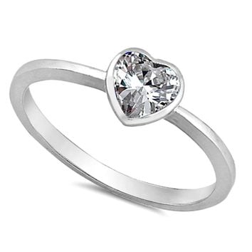 .925 Sterling Silver Diamond CZ Heart Ring Kids and Ladies Clear Size 2-10 Midi