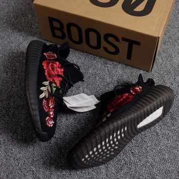 Best Online Sale Kanye West x Adidas Yeezy 350 V2 Boost Embroidery Peony Flower Sport Shoes Running Shoes