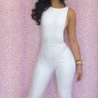 White One Sleeve Bodycon Jumpsuit