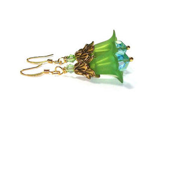 Frosted  Green Lucite Flower Earrings, Swarovski Crystal Dangles, Antique Gold , Dangle Flower Earrings, Gift for Her