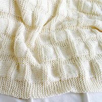 Cream White Knit Baby Blanket- Boy or Girl- Made To Order-Grid Pattern- Knitted Afghan- Baptism|Christening