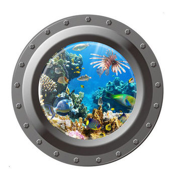 Submarine Underwater World 3D Window Wall Stickers for Kids Room Wall Decals Home Decor Mural Wallpaper