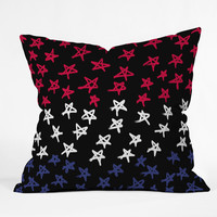 Lisa Argyropoulos Red White And Blue Stars Night Throw Pillow