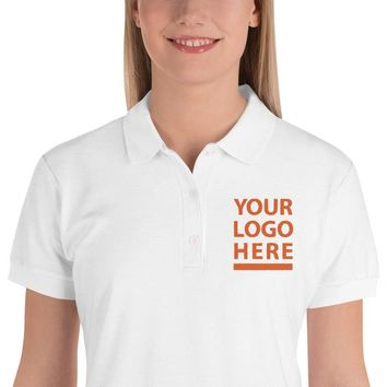Embroidered Women's Polo Shirt - Performance Polo Shirts - Personalized Collar Embroidery Tees embroidered business polo shirts