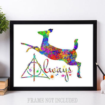 Harry Potter and the Deathly Hallows - Always Deer Splatter Watercolor - 11x14 Unframed Art Print - Great Gift for Potterheads